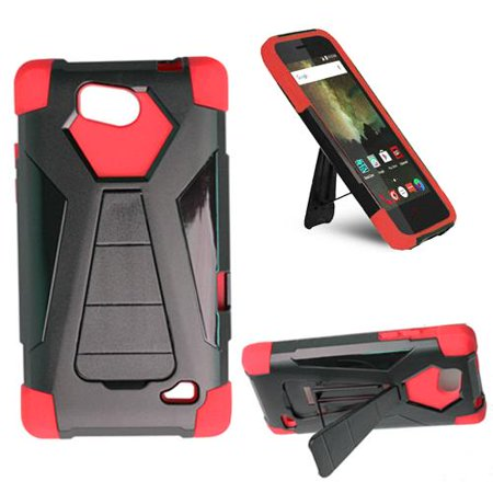 timeless design c06bd 1199d Phone Case For TracFone ZTE Majesty Pro (Total Wireless), Straight Talk ZTE  Majesty Pro Plus Z899VL / N9131 Rugged Cover ( Wide Stand Black-Red Corner  ...