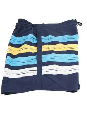 Men's Body Glove Boardshort Swim Suit Dark With Dark Blue Yellow And White Stripes