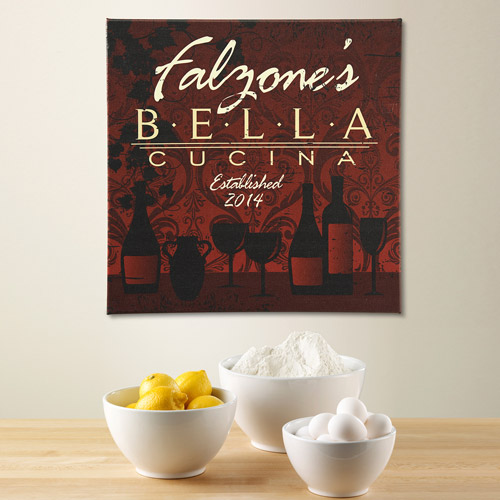"Personalized Bella Cucina Canvas, 11"" x 11"""