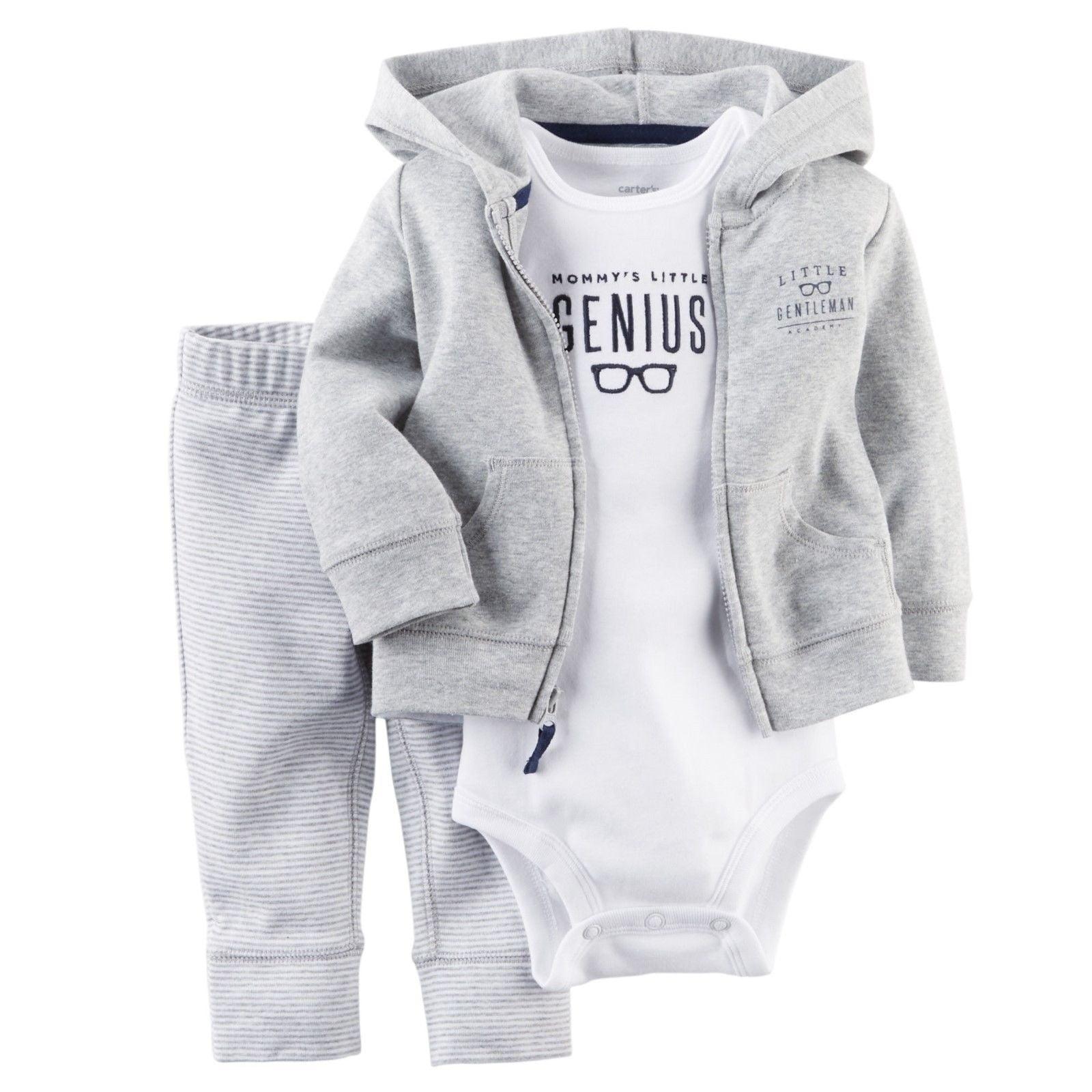 Carters 6 9 Months Raccoon Fleece Cardigan Pants Set Baby Boy Clothes Gray