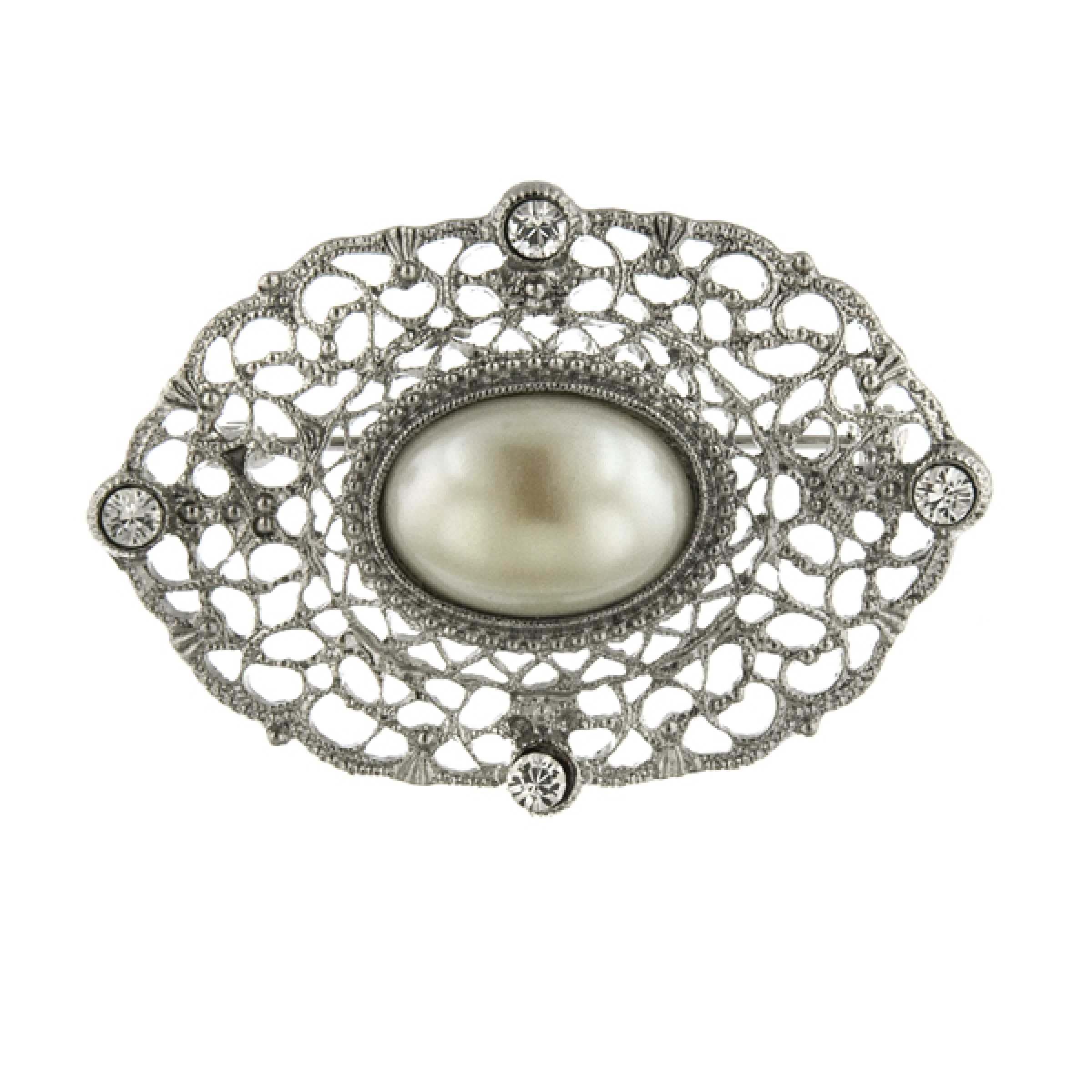 Silver-tone Downton Abbey Clear Glass & Simulated Pearl Oval Pin