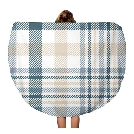 LADDKA 60 inch Round Beach Towel Blanket Plaid Check Pattern in Beige White Dusty Teal Green Travel Circle Circular Towels Mat Tapestry Beach Throw ()