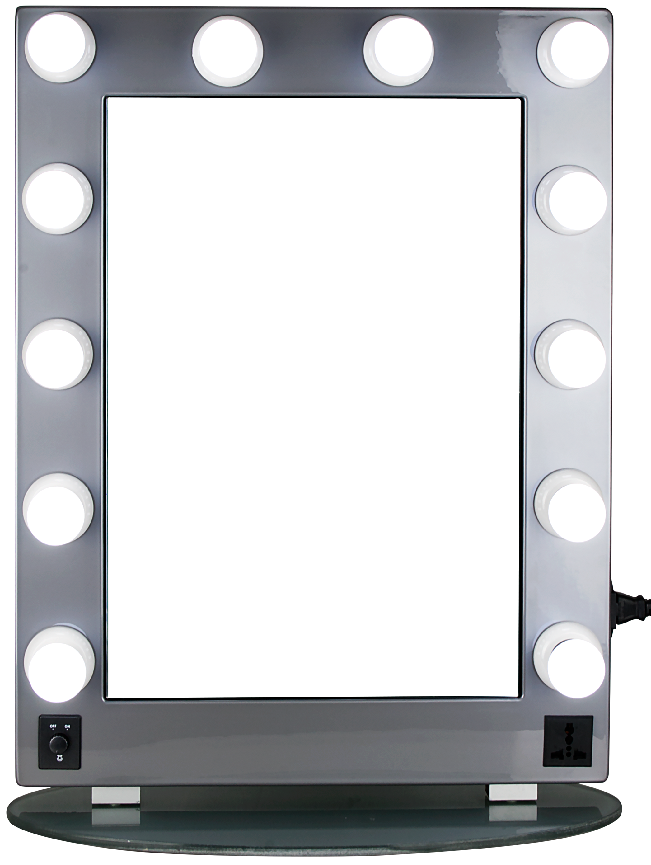 HIKER Hollywood Vanity Mirror With 12 Adjustable LED Lights And An Oval  Glass Base Silver