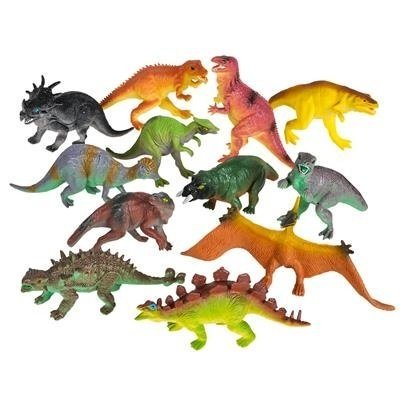 Party Figure - Large Plastic Dinosaur Set - 12 Pack - 5.5 Inches, Assorted Realistic Looking Dinosaur Figures – Toy For Kids, Play, Decoration, Gift, Prize, Party Favor – By Kidsco