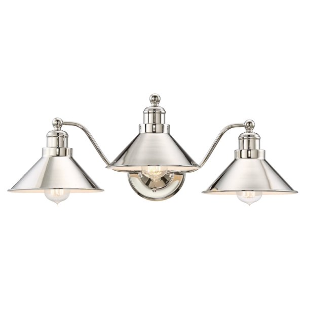 Kira Home Welton 25 5 3 Light Modern Farmhouse Bathroom Light Vintage Vanity Barn Light Polished Nickel Finish Walmart Com Walmart Com