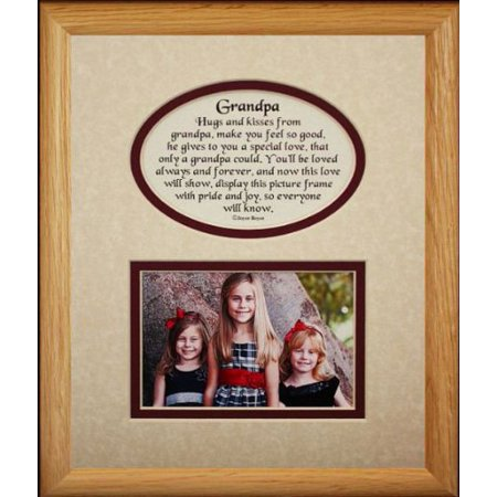 8X10 Grandpa Picture Poetry Photo Gift Frame Cream Burgundy Mat Heartfelt Keepsake