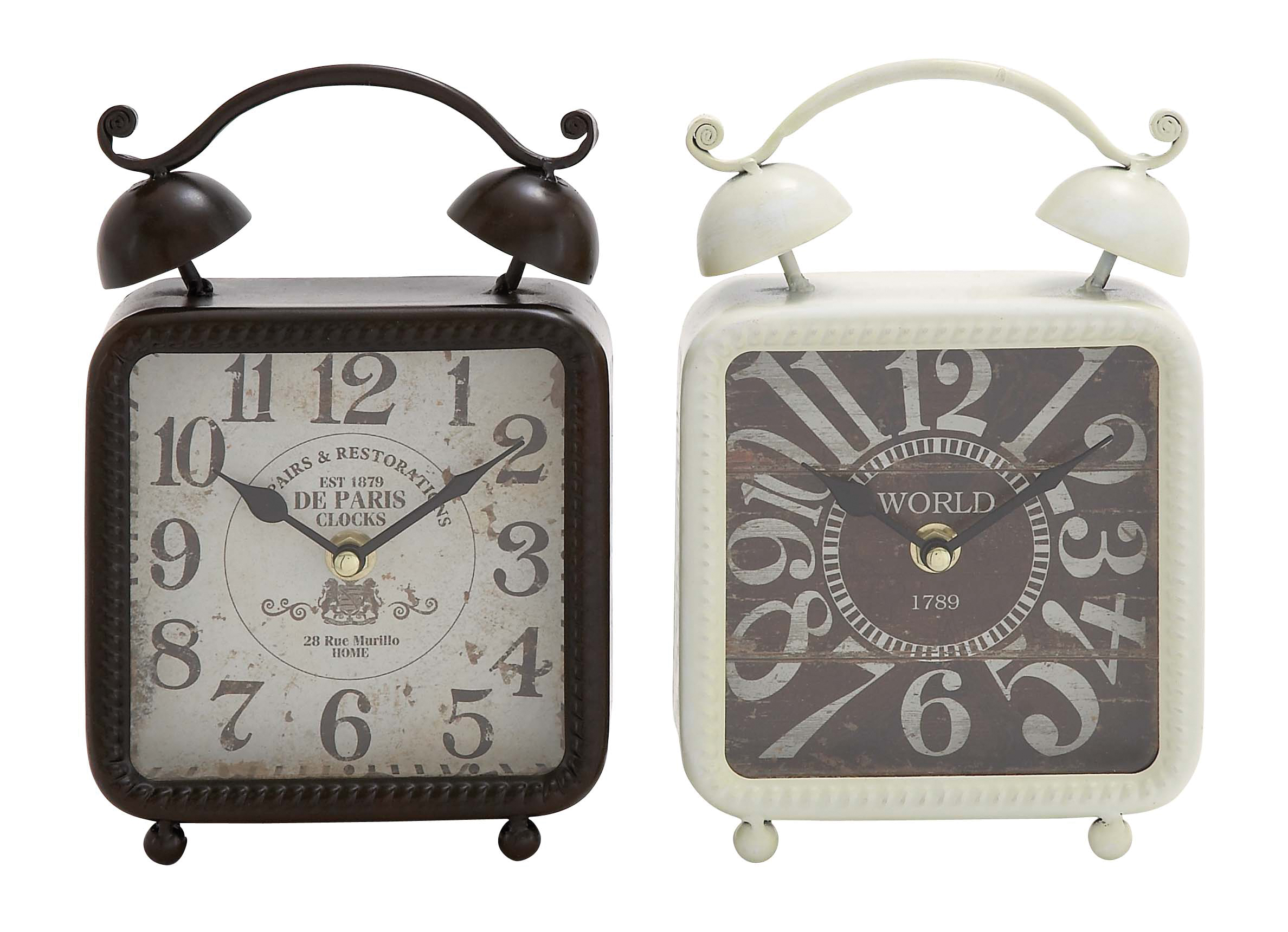 Decmode Set of 2 Traditional 9 X 6 Inch Distressed Iron Alarm Style Square Desk Clocks, Black, white by DecMode
