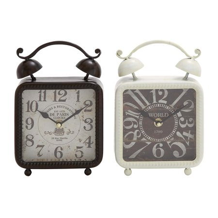 Decmode Set of 2 Traditional 9 X 6 Inch Distressed Iron Alarm Style Square Desk Clocks, Black, white