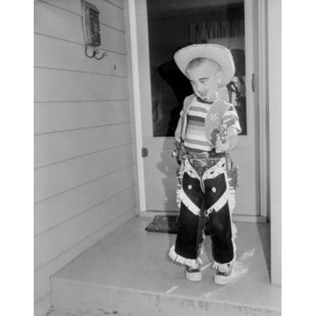 Boy wearing cowboy costume Canvas Art - (24 x 36)
