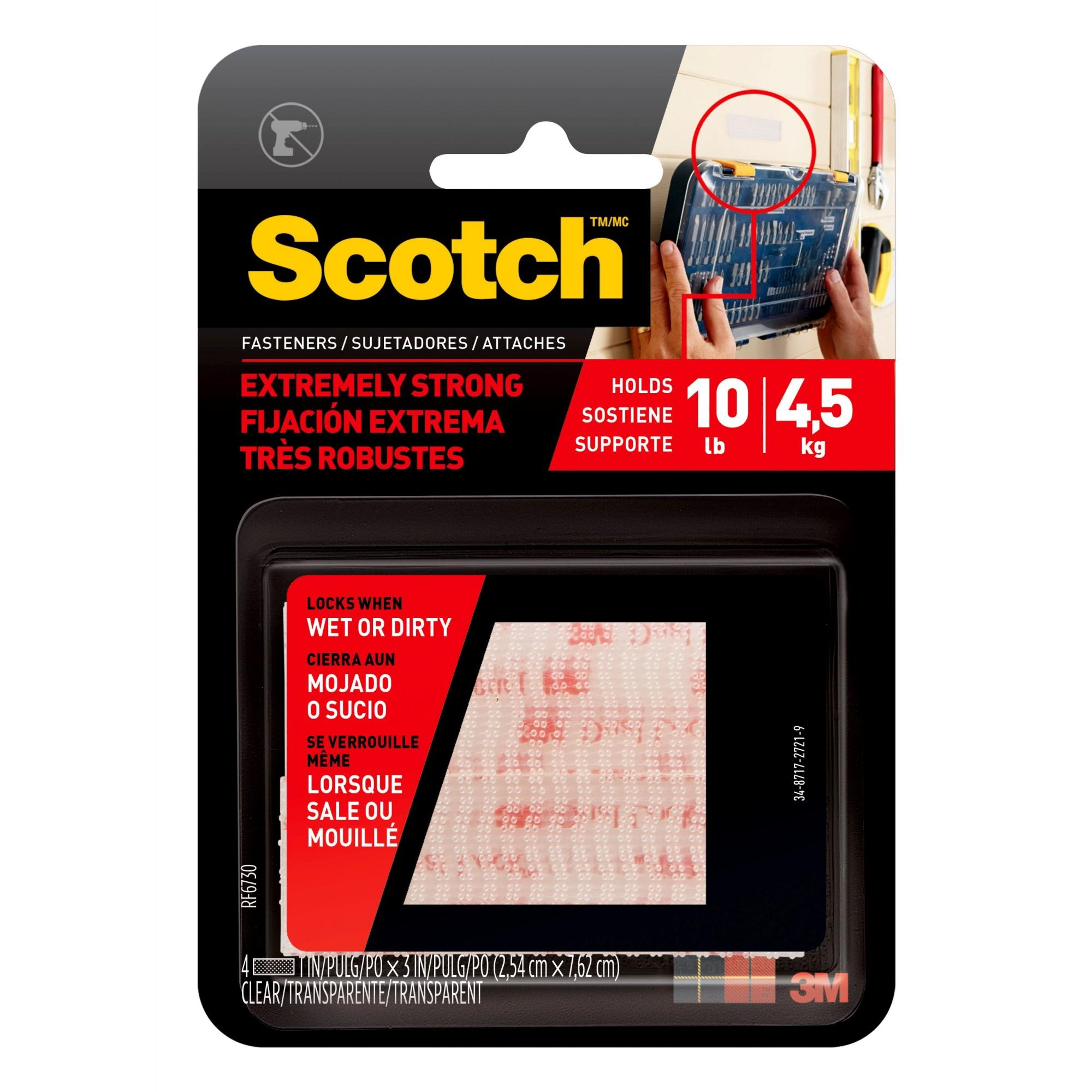 All-Weather Fasteners 2 SETS of 1 Inch x 3 Inches Strips Scotch R Clear
