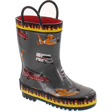 Foxfire for Kids Gray Rubber Boot with Flame Trim and Rescue Equipment](Harley Flame Boots)