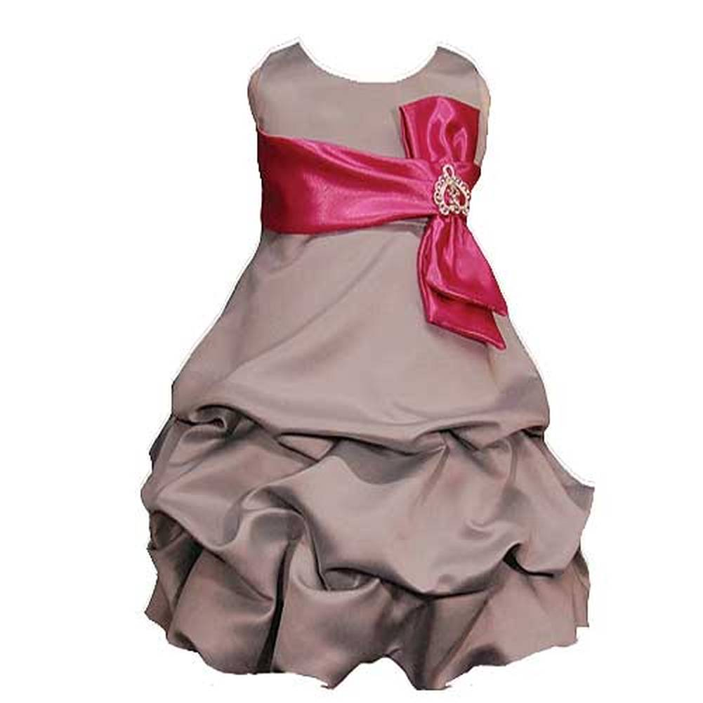 Good Girl Little Girls 4 Silver Fuchsia Tucked Bubble Occasion Dress