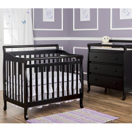 Dream On Me, 4-in-1 Mini Portable Convertible Crib, Black