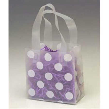 Bags   Bows By Deluxe 268 060306 Dotc White Dots Clear Frosted Flex Loop Shoppers   Case Of 100