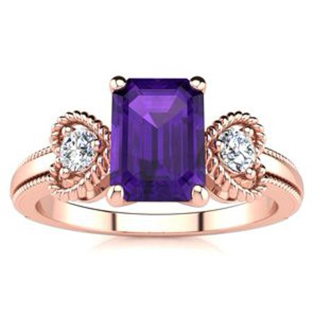 1 Carat Emerald Cut Amethyst and Two Diamond Heart Ring In 10 Karat Rose Gold
