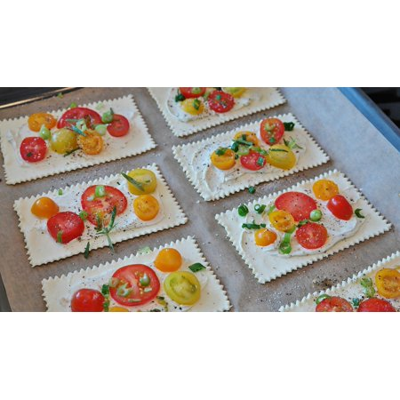 LAMINATED POSTER Tomatoes Mediteran Puff Pastry Cream Cheese Starter Poster Print 24 x 36