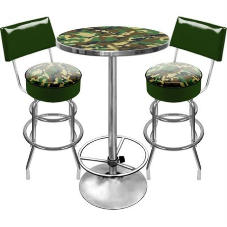 "Trademark Two 40"" Bar Stools with Back and 42"" Pub Table Ultimate Hunt Camo Game Room Combo"