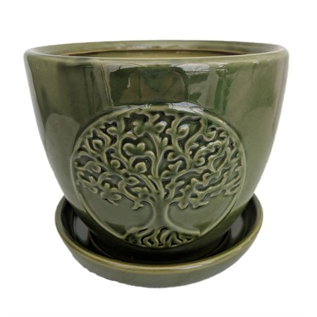 Indian Tree Saucer - Tree of Life Ceramic Planter with Attached Saucer - Green - 6