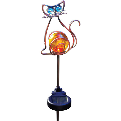 Moonrays 92211 Solar Powered Color-Changing LED Cat Stake Light, Bronze Finish