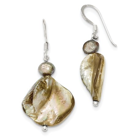 Sterling Silver Mother of Pearl & Light Brown Freshwater Cultured Pearl Ear