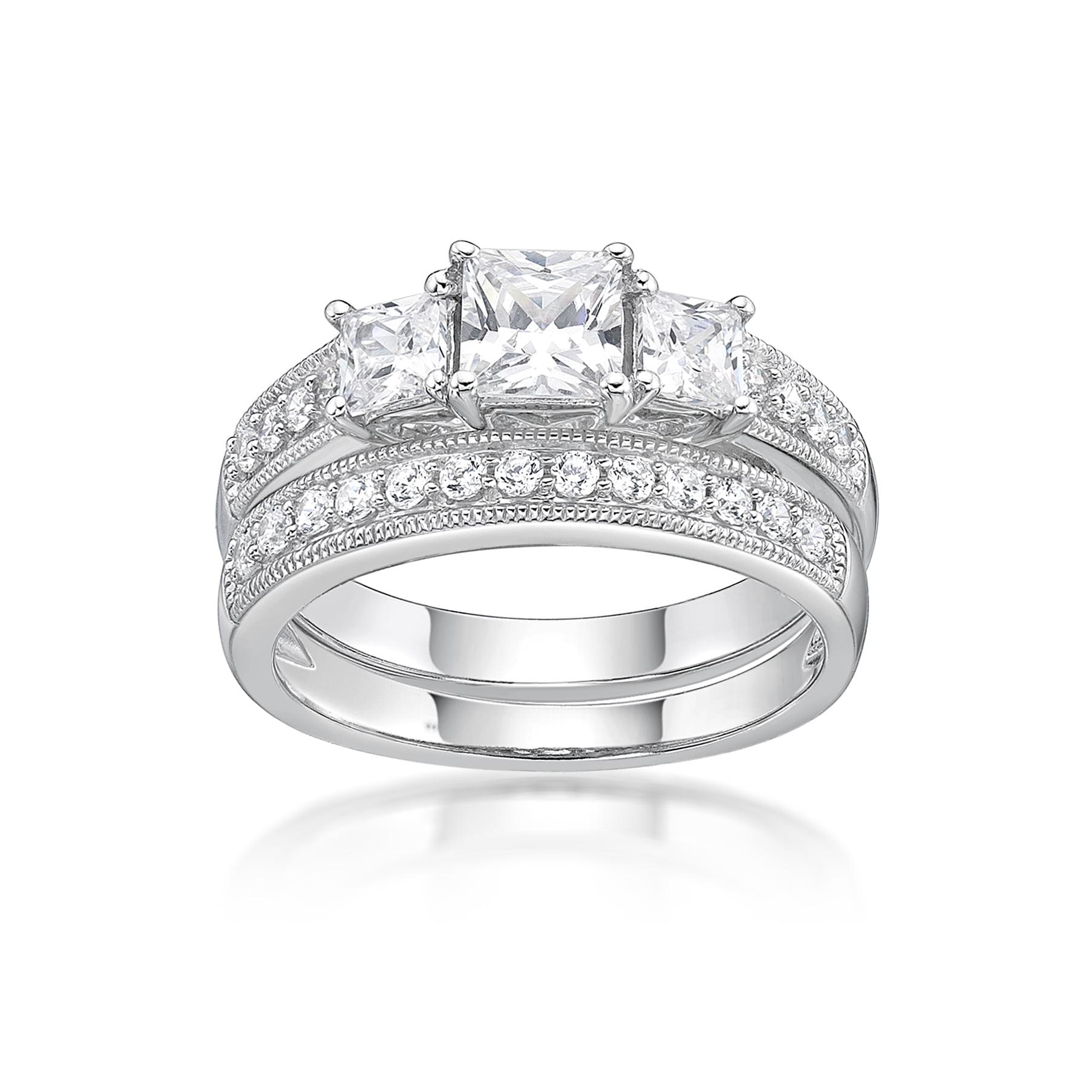 Brilliance Fine Jewelry Sterling Silver Simulated Diamond Bridal