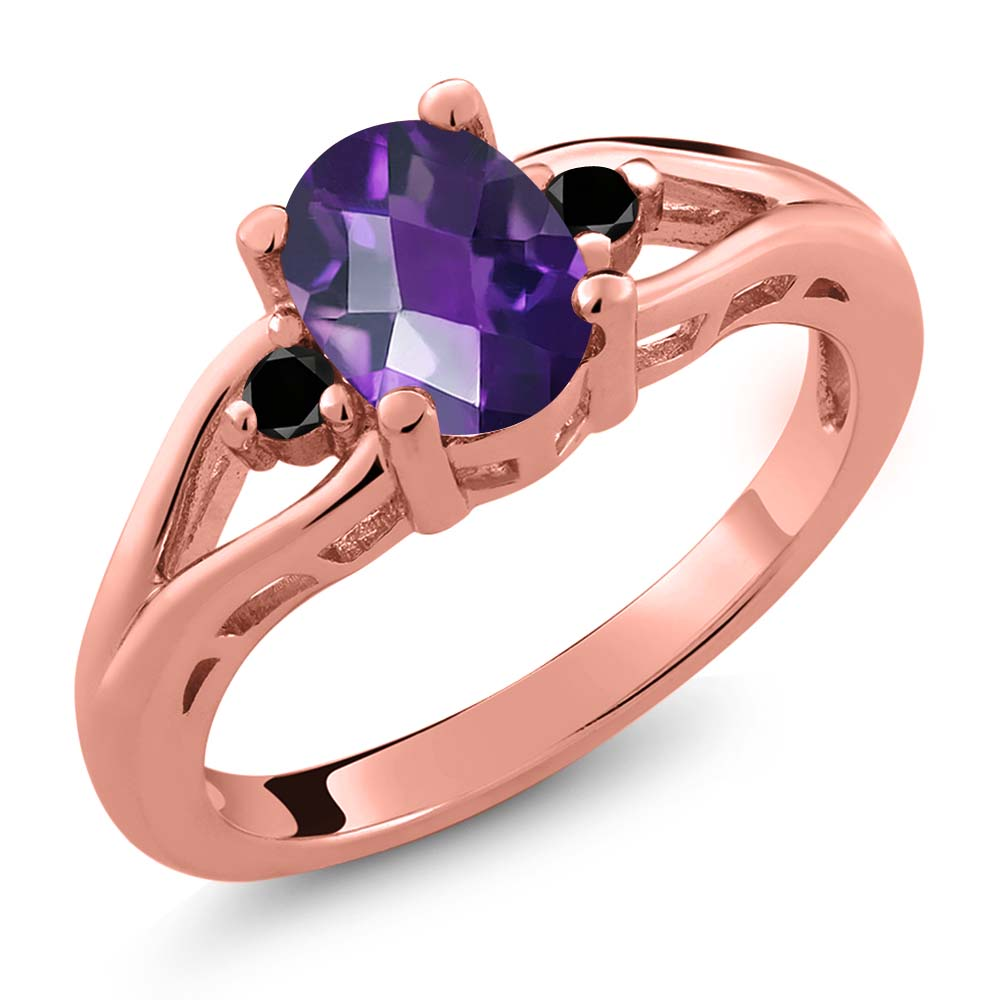 1.06 Ct Checkerboard Purple Amethyst and Diamond Gold Plated Silver Ring