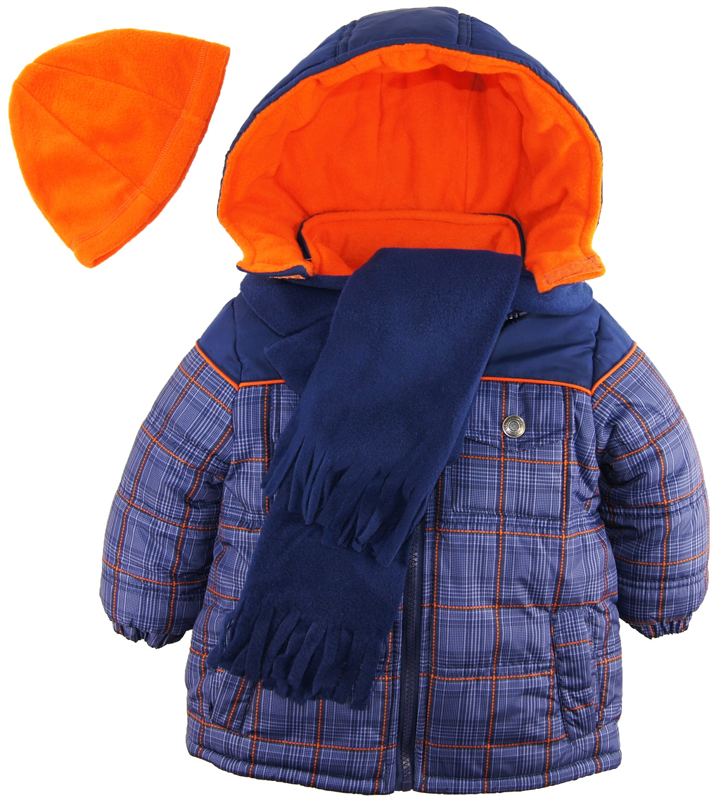 iXtreme Toddler Boys Plaid Expedition Hodded Puffer Jacket Winter Coat Fleece Scarf Hat