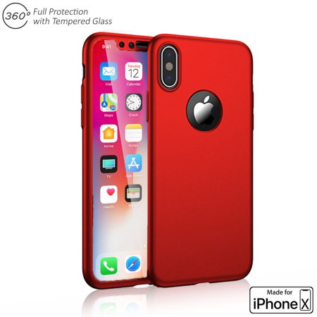 Indigi Red 360 Full Protective Case Hard PC Cover w/ Tempered Glass Screen For iPhone X - image 3 de 4
