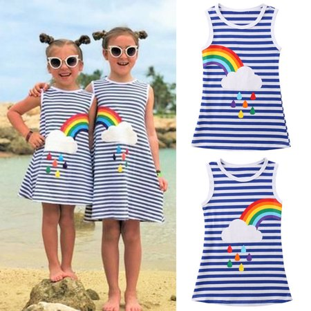 The Noble Collection Kids Baby Girls Rainbow Party Pageant Princess Dress Sundress Clothes Casual (Rainbow Dresses For Kids)