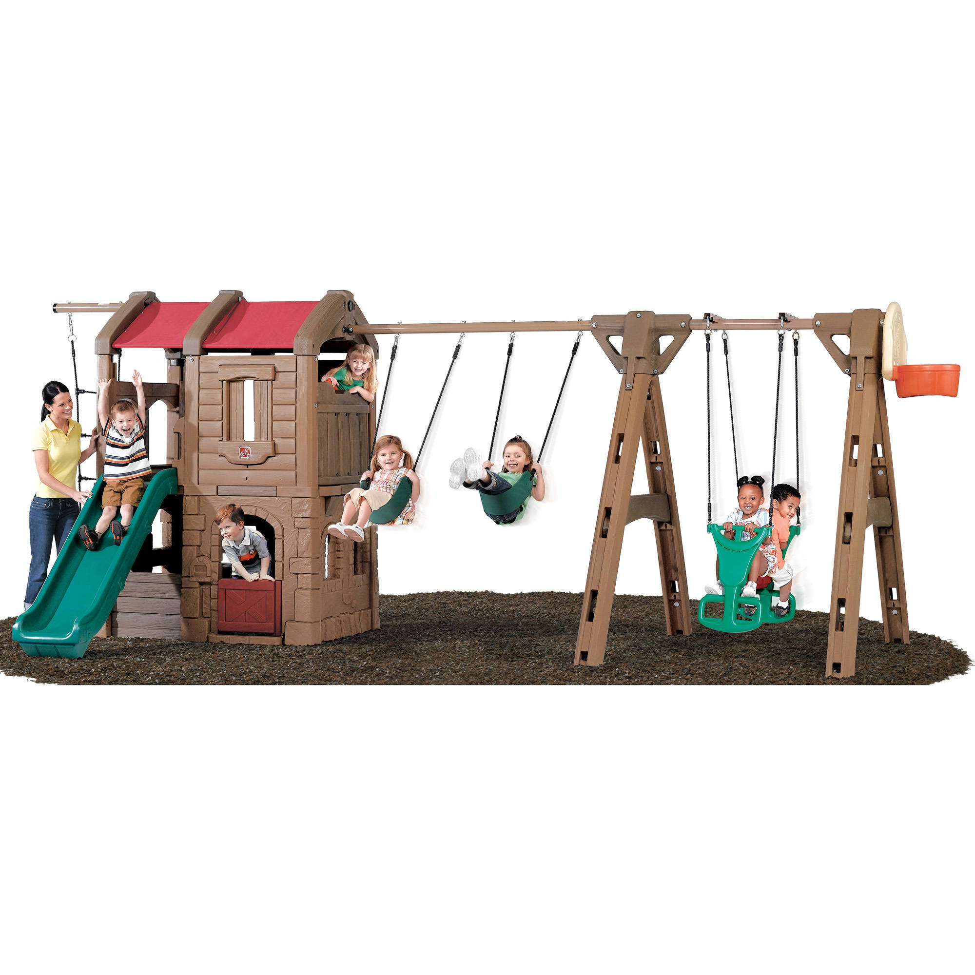 Step2 Naturally Playful Adventure Lodge Play Center Swing Set with Glider and 6' Slide