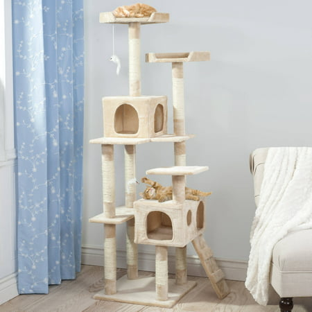 Skyscraper Sleep And Play Cat Tree By Petmaker  5 5Ft Tall  Beige