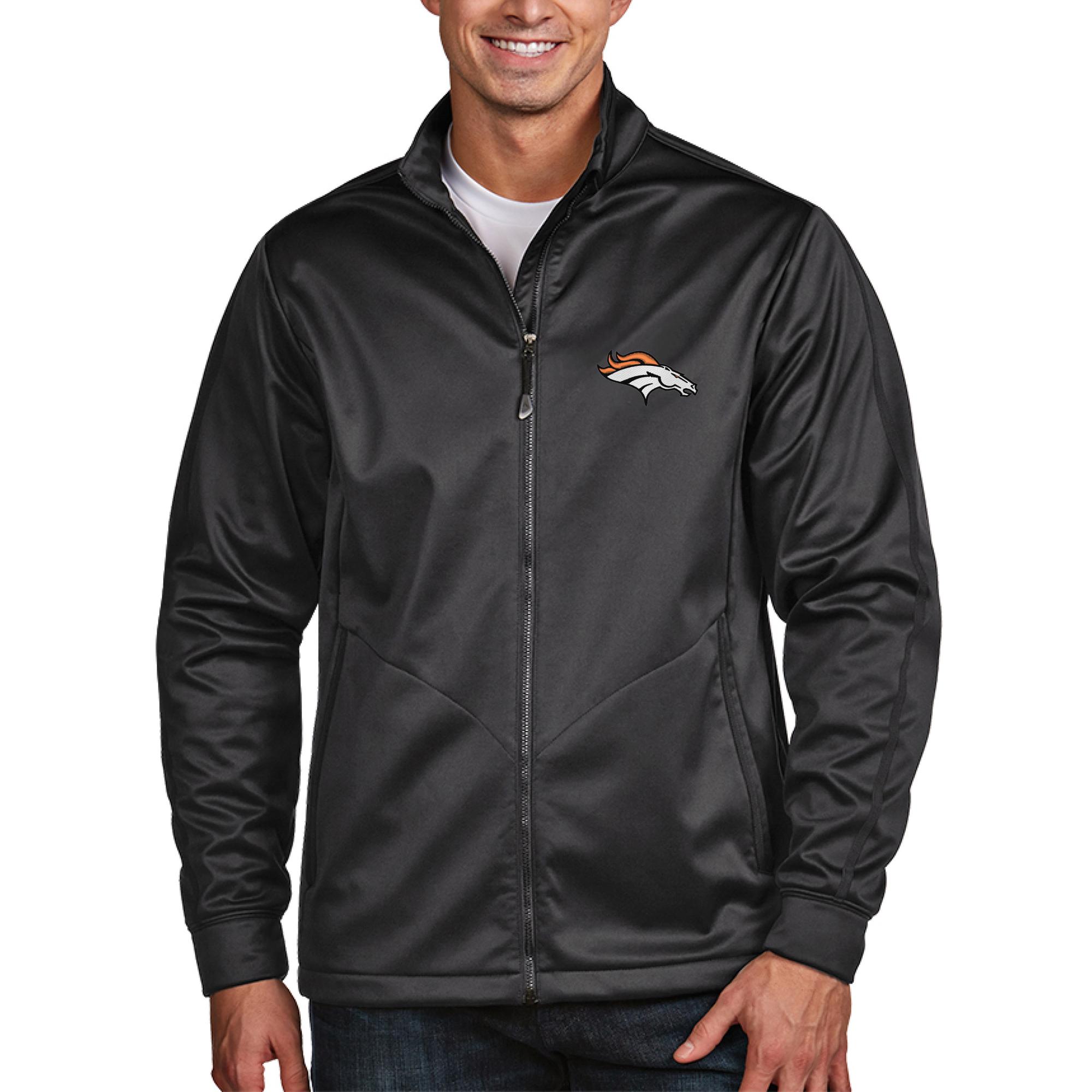 Denver Broncos Antigua Golf Full-Zip Jacket - Charcoal