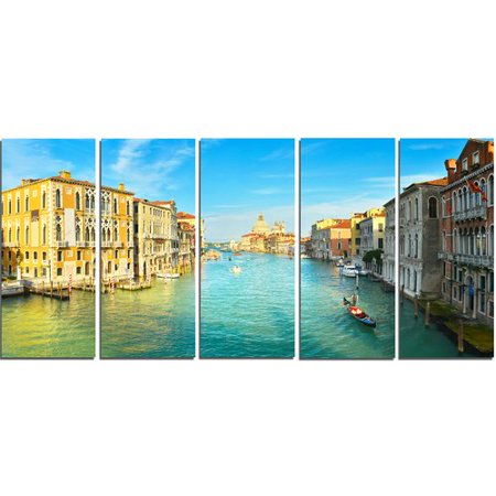 - Design Art Vibrant Evening Venice Italy 5 Piece Wall Art on Wrapped Canvas Set