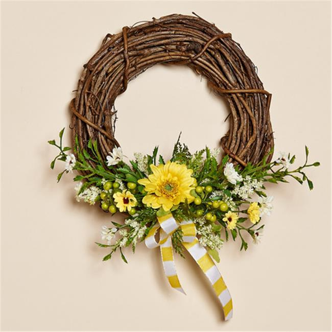 Harvest of Barnstable SGW8 Grapevine Wreath with Silk Flowers - 8 inch