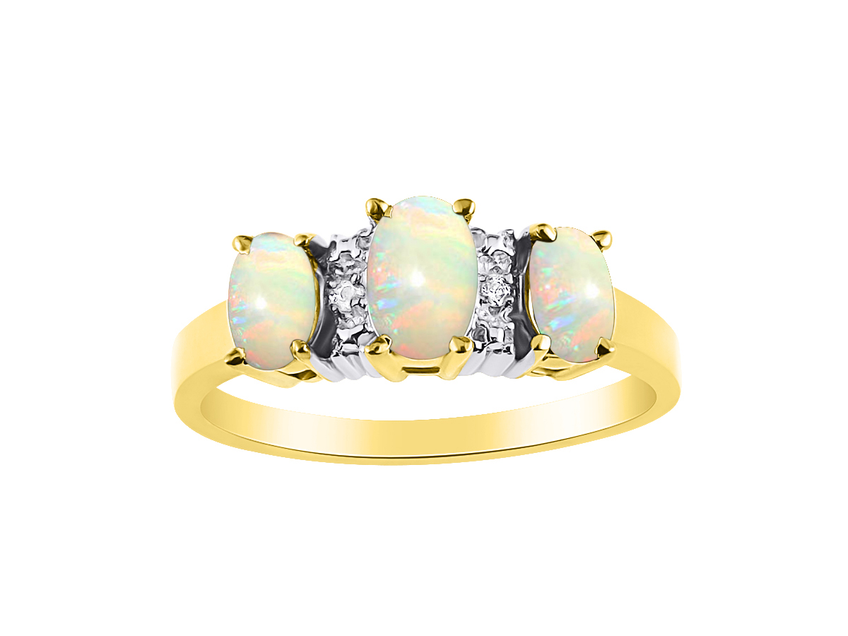 Diamond & 3 Stone Opal Ring Set In Yellow Gold Plated Silver Color Stone Birthstone Ring Past, Present, Future... by Rylos