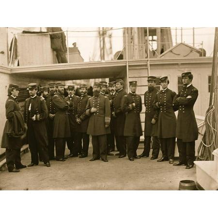 Hampton Roads, Va. Rear Admiral David D. Porter and staff aboard his flagship, U.S.S. Malvern Print Wall Art