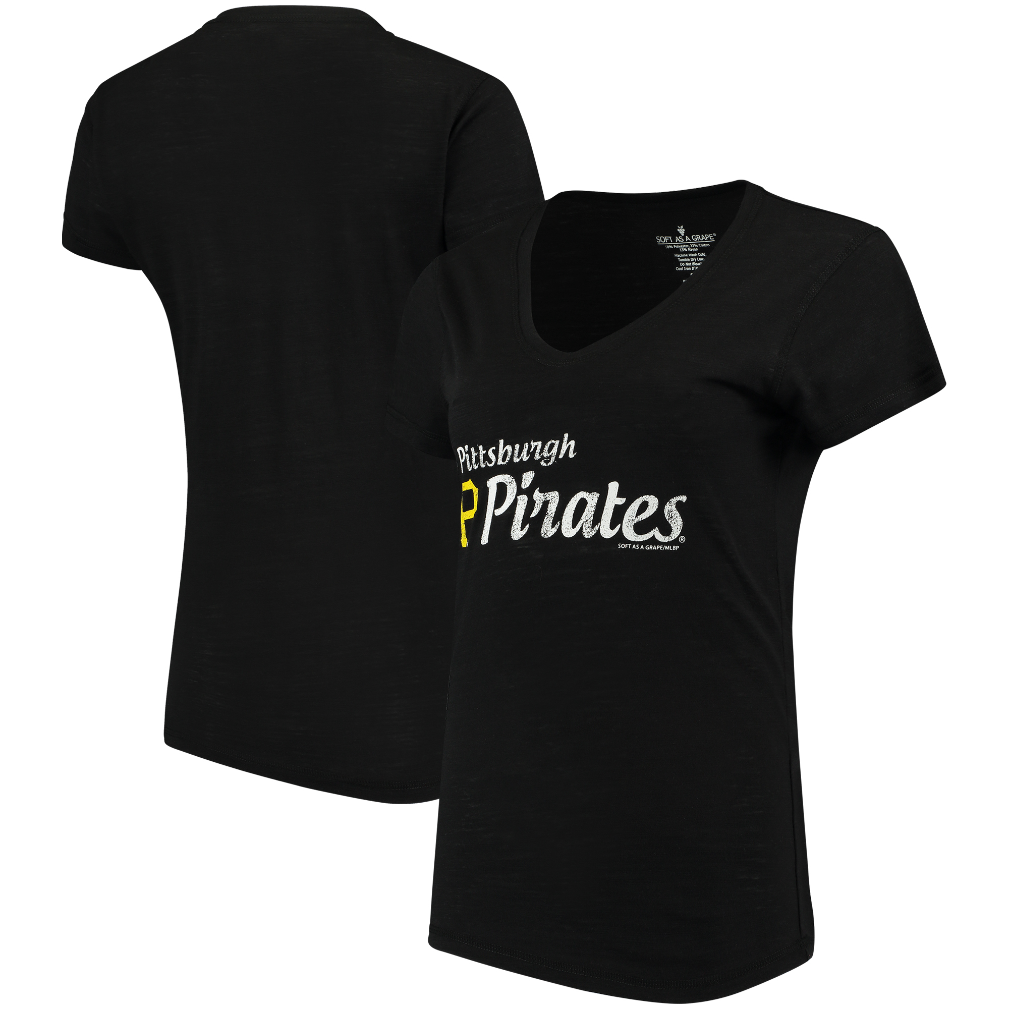 Pittsburgh Pirates Soft As A Grape Women's Double Steal Tri-Blend V-Neck T-Shirt - Black
