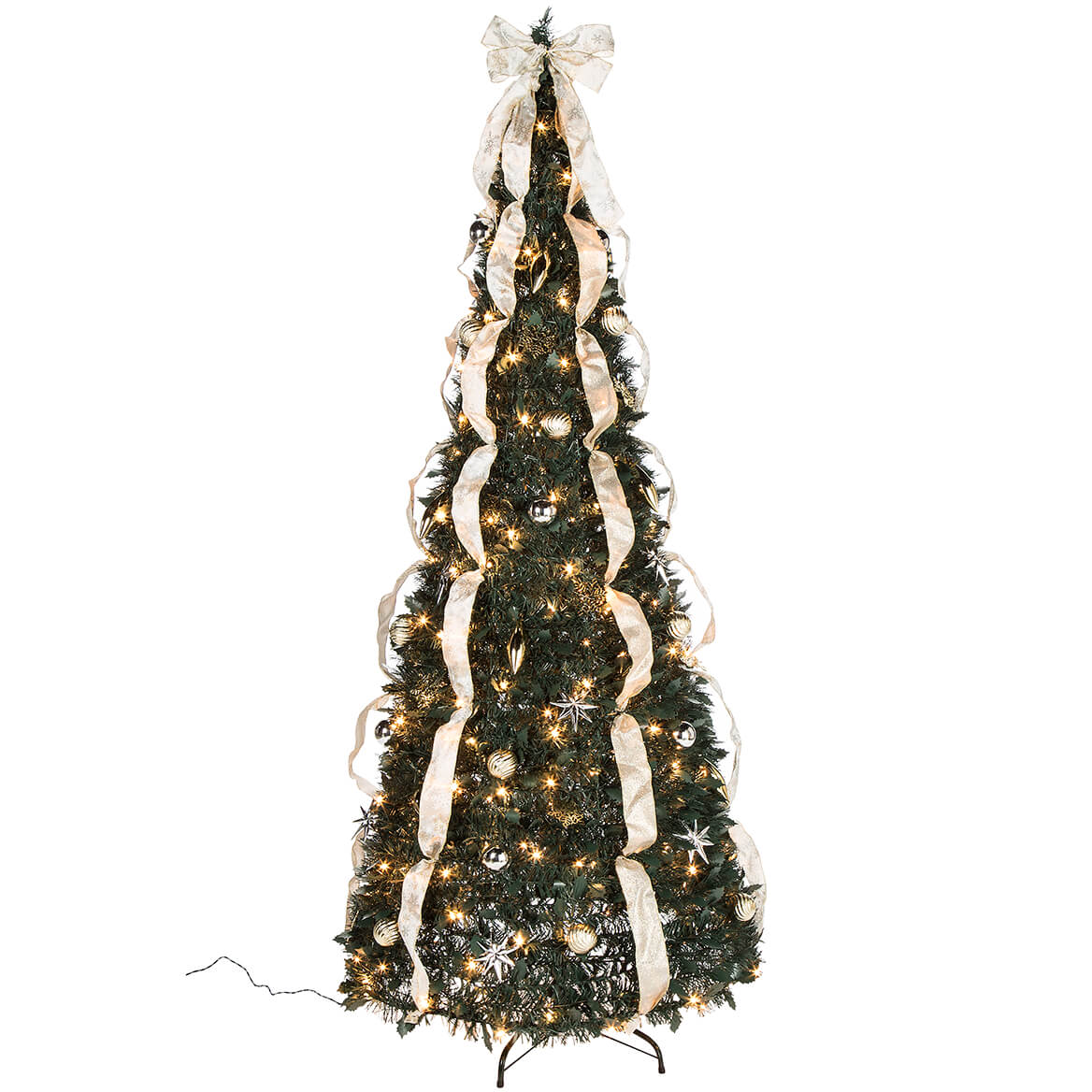 7' Silver & Gold Pull-Up Christmas Tree by Holiday Peak, Pre-Lit and Fully Decorated, Collapses for Easy Storage