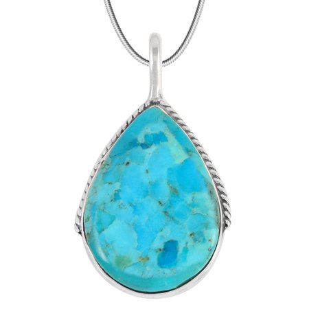 Turquoise Pendant Necklace Sterling Silver 925 and Genuine Turquoise  (includes 20