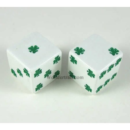 White Lucky Dice with Green Clovers D6 25mm (1in) Pack of 2 Koplow Games