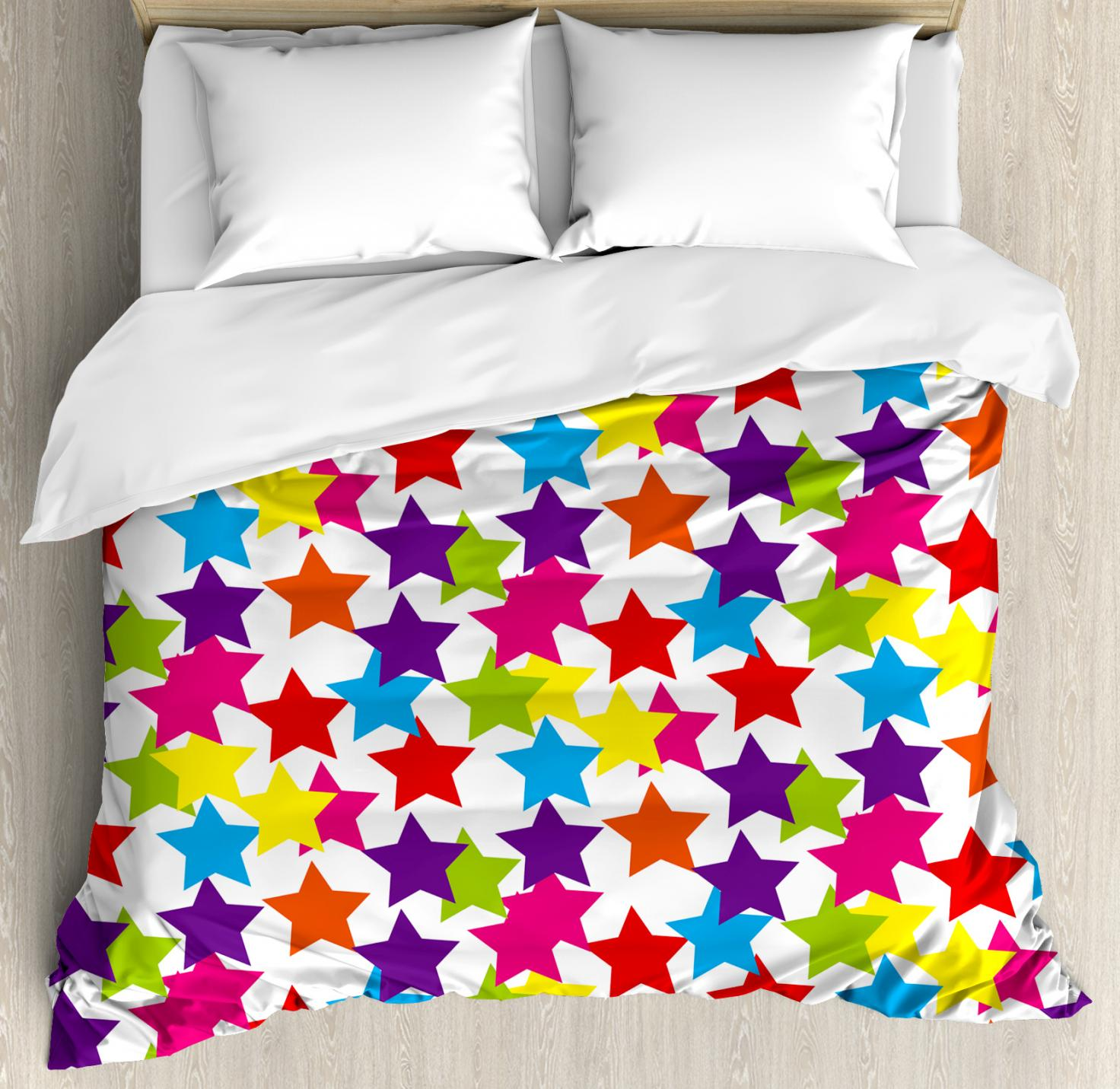 Modern Duvet Cover Set, Little Rainbow Colored Funky Stars Kids Nursery Boys Girls Theme Artistic Print, Decorative Bedding Set with Pillow Shams, Multicolor, by Ambesonne