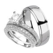 his and her wedding ring set titanium sterling silver 97 choose - His And Her Wedding Ring Sets