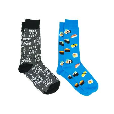 Men's Best Dad Ever Socks Grey and Sushi Rolls & Sashimi Socks All-Over