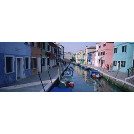 Houses Along A Canal Burano Italy Canvas Art   Panoramic Images  15 X 6