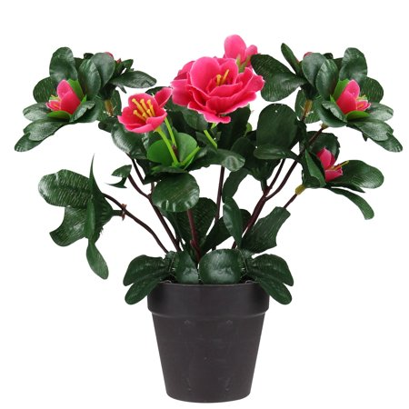 """Northlight 7.5"""" Flowering Rose Bush Artificial Potted Plant - Green/Pink"""