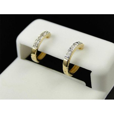 (10k Ladies Yellow Gold White Diamond Pave Set Mini Hoop Huggie Earrings)