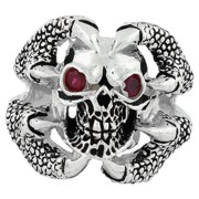 Sterling Silver Red Cubic Zirconia Claw of the Beast Skull Ring 15