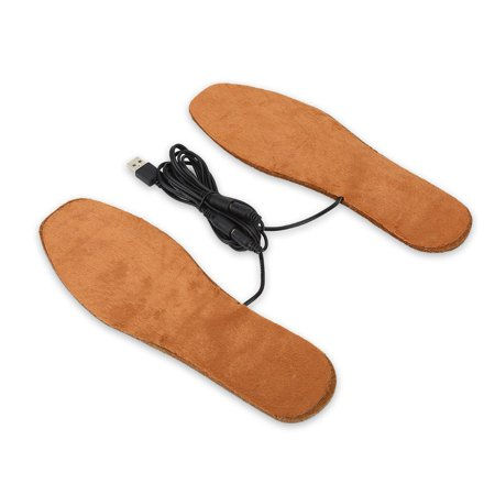 1 Pair Wool Felt USB Electric Powered Heating Shoes Insoles Feet Warmth-Keeping Pads Brown(Women)