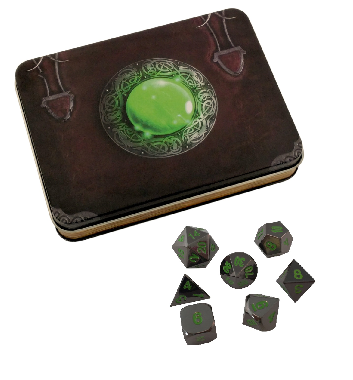 Wizards Grimoire with Black Dragon | Shiny Black Nickel with Green Numbering Metal Dice -
