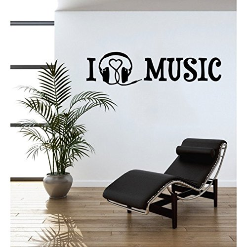 I Love Music Wall Decal - Music Wall Sticker, Musical Vinyl Wall Art, Home Decor, Melody Wall Mural, Quotes And Sayings - 4388-0 - Red, 47in x 15in
